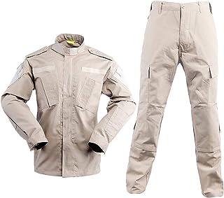 LANBAOSI Men's Hiking Tactical Jacket and Pants Military Camo Hunting ACU Uniform 2PC Set