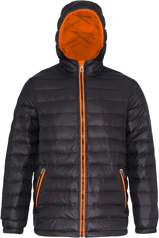 2786 Mens Hooded Water & Wind Resistant Padded Jacket (XL) (Black/Orange)