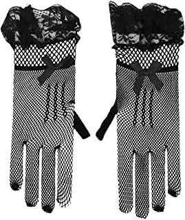 Amosfun Long Bridal Satin Finger Dance Gloves For Special Occasion Evening Party(Black)