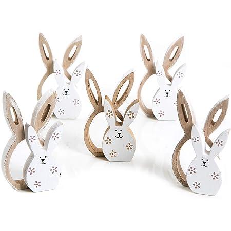 decorazioni fai da te fai da te Pineocus Pasqua in legno forme di legno decorazioni in legno 6 pezzi coniglietti pasquali coniglietti in legno intagliati pasquali