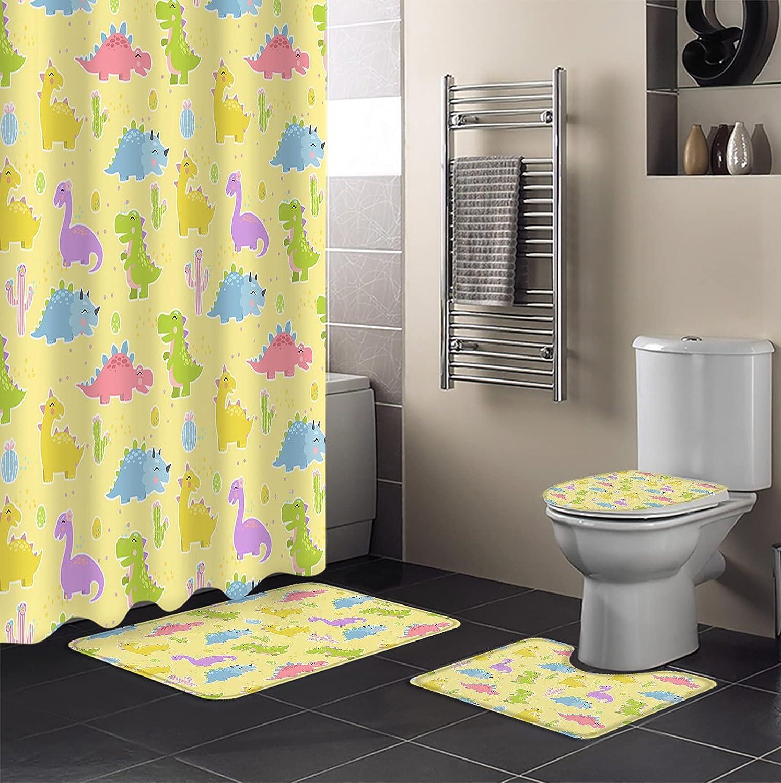 Brand Cheap Sale Limited price sale Venue 4 Piece Shower Curtain Sets Illustrati Dinosaur Color Kid's Cute