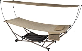 Ben&Jonah Patio Bliss Stow-EZ Portable Hammock and 4 pt. Stand with Canopy - Sand