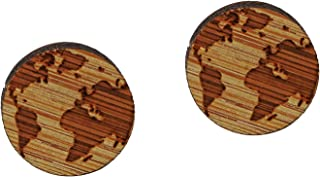 bobauna Round Globe World Map Wooden Stud Earrings Map Jewelry Long Distance Travel Gift For Adventurer Friend