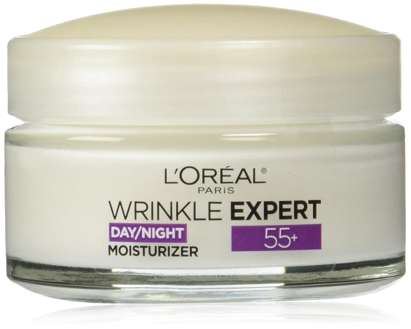 推進力引き渡す受けるL'Oreal Paris Wrinkle Expert 55+ Day/Night Moisturizer, 1.7 oz(48g) ロレアル リンクルエキスパート55+