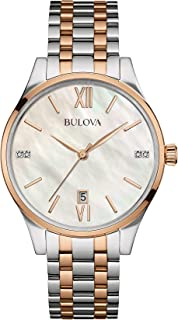 Bulova - Diamond Reloj de Cuarzo para Mujer con Madre de Pearl Dial analógico Display y Dos Tonos Pulsera Bañado En Oro Rosa De Acero Inoxidable 98s150
