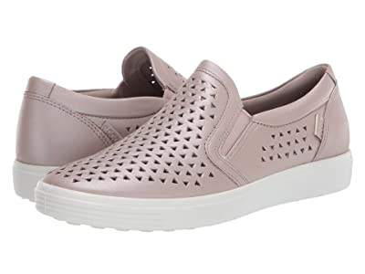 ECCO Soft 7 Laser Cut Slip-On (Grey Rose Metallic Cow Leather) Women