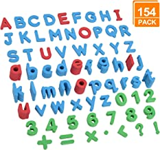 [154 Pcs Magnetic Letters and Numbers], DealKits Educational Foam Alphabets ABC Magnets with Uppercase Lowercase Math Symbols for Kids Toddlers Gift Blocks Set for Fridge Bath Dry Erase Magnetic Board