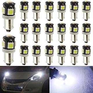 20-Pack BA9S BA9 12146 1445 1705 White LED Light 12V,5 SMD 5050 Chipset Car Interior Replacement 6253 64111 Bulb For Map Dome Courtesy Trunk License Plate Glove Box Side Marker Light