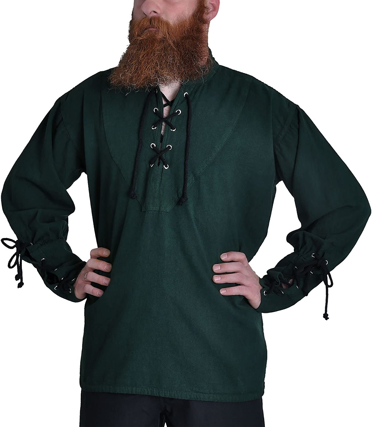 ImexModen Medieval Gothic Pirate Shirt with StandUp Collar bluee 1605