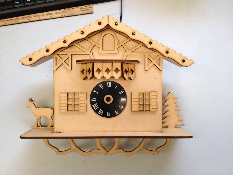 PLAIN MDF reloj de cuco de bricolaje del arte KIT de casa de ...