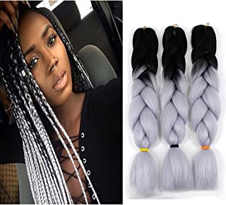 Ombre Kanekalon Jumbo Braiding Hair Crochet Box Braids Twist Synthetic Hair Extensions Heat Resistant(24inch,3Packs,Black/Grey)