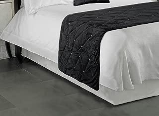 HOTEL QUALITY BLACK LUXURY DIAMANTE VELVET BLACK BED SCARF RUNNER 70 X 220CM - 28