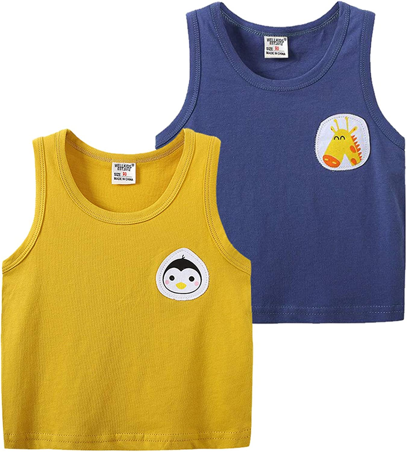 Huaer Toddler Boys' 2-3 Pack Tank Tops (Blue+Yellow, 2T)