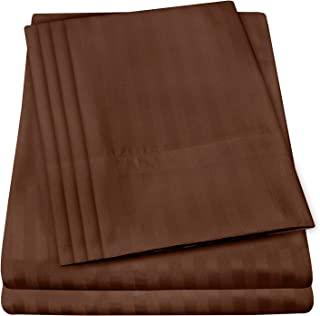 Dobby Stripe Queen Sheets - 6 Piece 1500 Thread Count Fine Brushed Microfiber Deep Pocket Queen Sheet Set Bedding - 2 Extra Pillow Cases, Great Value, Queen, Dobby Coffee