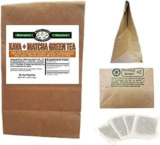 Kava + Matcha Green Tea - 30 Tea Bags - Stress Anxiety Focus Relaxation Calm