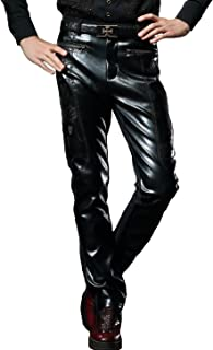 Fashion Faux Leather Pants Black Casual Slim Fit