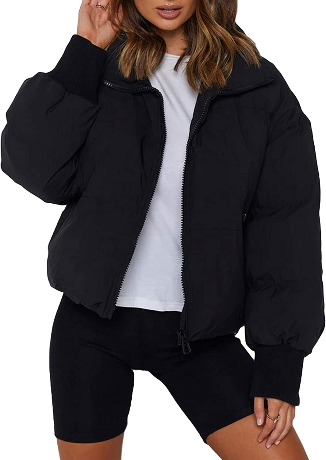 Uaneo Womens Casual Padded Full Zip Stand Collar Long Sleeve Puffer Jackets
