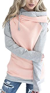 Hoodies for Women Oblique Zipper Sweatshirts Long Sleeve Hooded Tops Spliced Color Casual Pullover