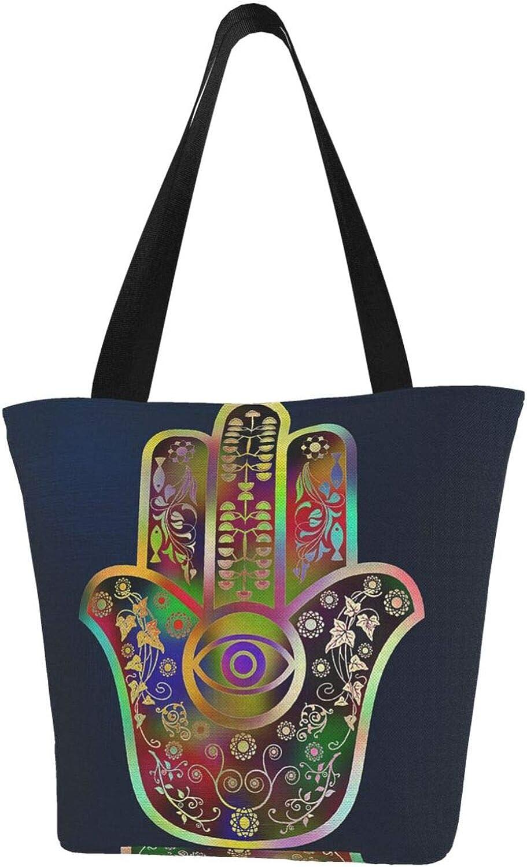 Hamsa Hand Eye Fatima Faith Themed Printed Women Canvas Handbag Zipper Shoulder Bag Work Booksbag Tote Purse Leisure Hobo Bag For Shopping