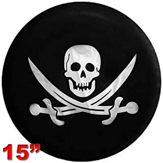 Kenkesh Skull Spare Tire Cover for RV, Jeep Wranglers, Boat Trailer. Choose from Multiple Designs with Flag & Crossbones. Rugged Weather Resistant Leather Grain Vinyl (M(15 INCH), Skull 3)