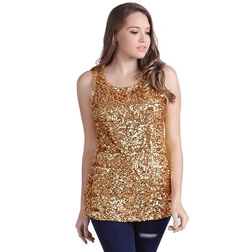 HDE Women s Sequin Tank Top Sleeveless Base Layer Gold Sparkle Glamour Shirt