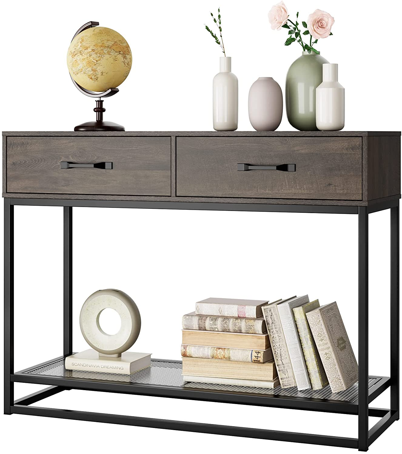 Console Table with Drawers and Storage Shelf, Narrow Long Sofa Entryway Table for Living Room, Entryway, Hallway, Foyer, Dark Brown