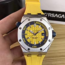 Luxury Brand Stainless Steel Silver Color case Yellow dial Automatic Movement Yellow Rubber Strap Diver's Oak Watch