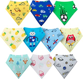 HOLABABY Baby Bandana Drool Bibs for Boys Girls 10 Pieces Organic Cotton Baby Bibs for Teething Newborn Toddler(Unisex)