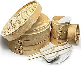 "A2Z HOMEBRANDS 10"" Bamboo Steamer Basket - Makes Tasty Bao Buns, Sashimi - Sturdy Dumpling Steamer Basket Includes 20 Line..."