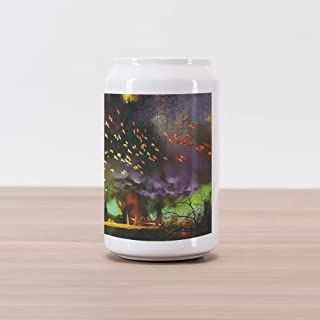 Ambesonne Fantasy Cola Can Shape Piggy Bank, Fairy Forest with Mysterious Trees and Birds Supernatural Vivid Wonder World, Ceramic Cola Shaped Coin Box Money Bank for Cash Saving, Yellow Purple