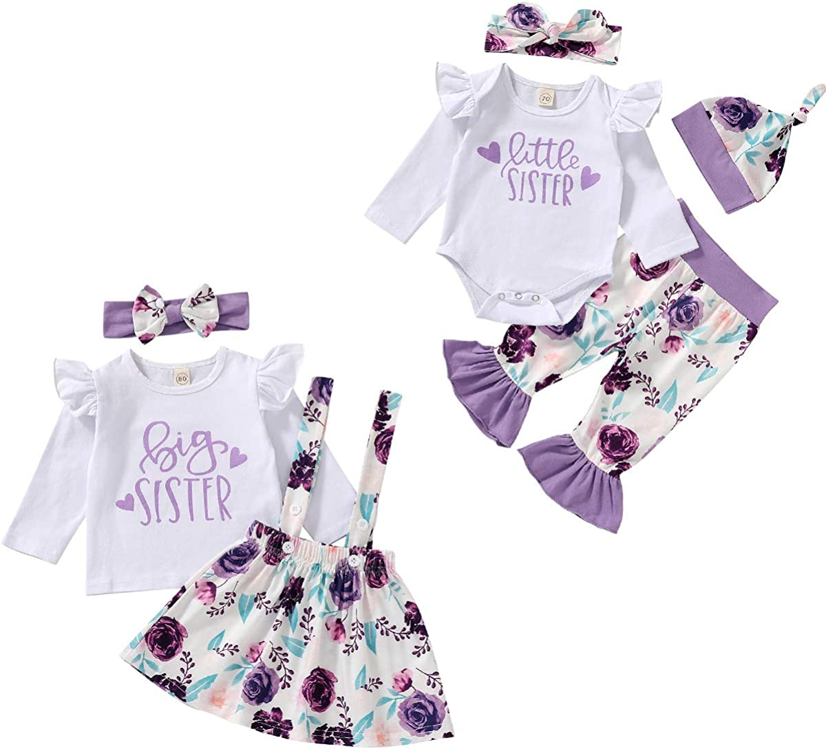 Toddler Baby Girls Sister Matching Outfits Baby Little Sister Romper Big Sister Tops + Floral Skirt Clothes Set