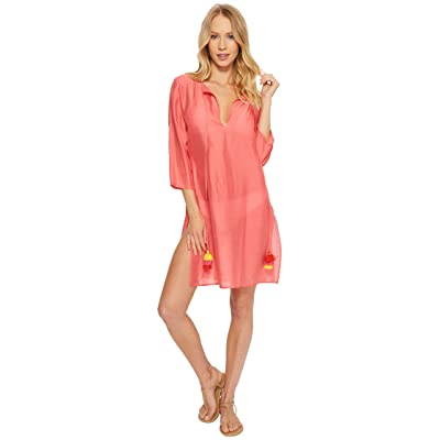 Echo Design Solid Tunic Cover-Up (Coral) Women