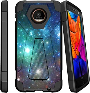 MINITURTLE Compatible with Motorola Moto Z Force Droid Hybrid Case, Z Force Droid [Shock Fusion] Slim Fitted Heavy Duty Stand Defender Case Blue Space Specs