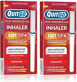 QuitGo Oral Fixation Support, Clinically Studied, Oxygen Inhaler to Stop Smoking, Includes Free How to Quit Smoking Step-by-Step Guide (2 Pack, Cinnamon)