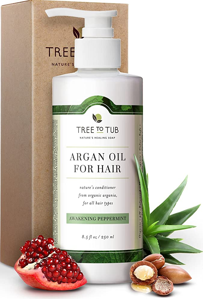 Moisturizing Argan Oil Conditioner by Tree To Tub | pH 5.5 Balanced & Hypoallergenic Hydrating Hair Conditioner for Soft, Shiny Hair and Calm Scalp, with Wild Soapberries, Natural Peppermint Oil 8.5oz
