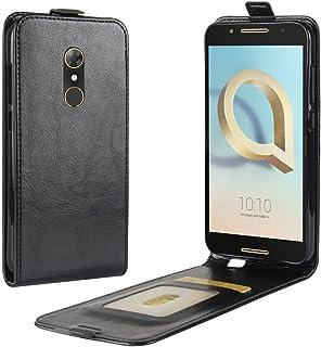 För Alcatel A7 PU läder skyddskort fack plånbok fodral flip fodral (svart)