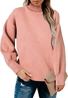 Womens High Neck Sweater Loose Long Sleeve Knitted...