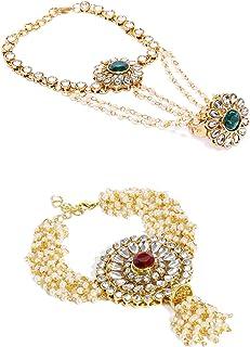 ZAVERI PEARLS Multi Strand Non Precious Metal Golden, Green Bracelet for Women (ZPFK9049)