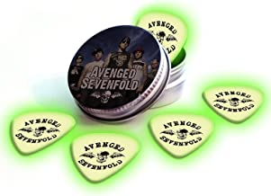 Avenged Sevenfold 5 X Glow in the Dark Logo Guitar Plectrums in Tin