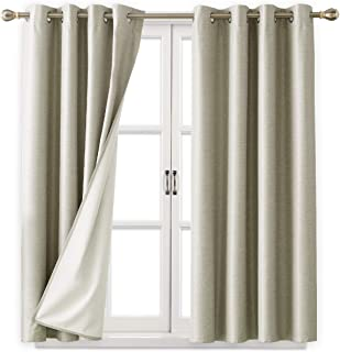 Deconovo Textured Blackout Curtains Room Darkening Light Blocking Window Curtain Panels with White Coated Thermal Insulated Lining for Living Room Beige 52W x 63L Inch 2 Panels