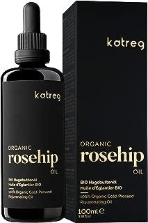 Katreg Aceite de Rosa Mosqueta Orgánico - Serum 100% Natural para el Cuidado de la Piel y el Cabello - Hidratante - Orgánico Certificado con Vitamina C, A, B, y E - Prensado - 100ml