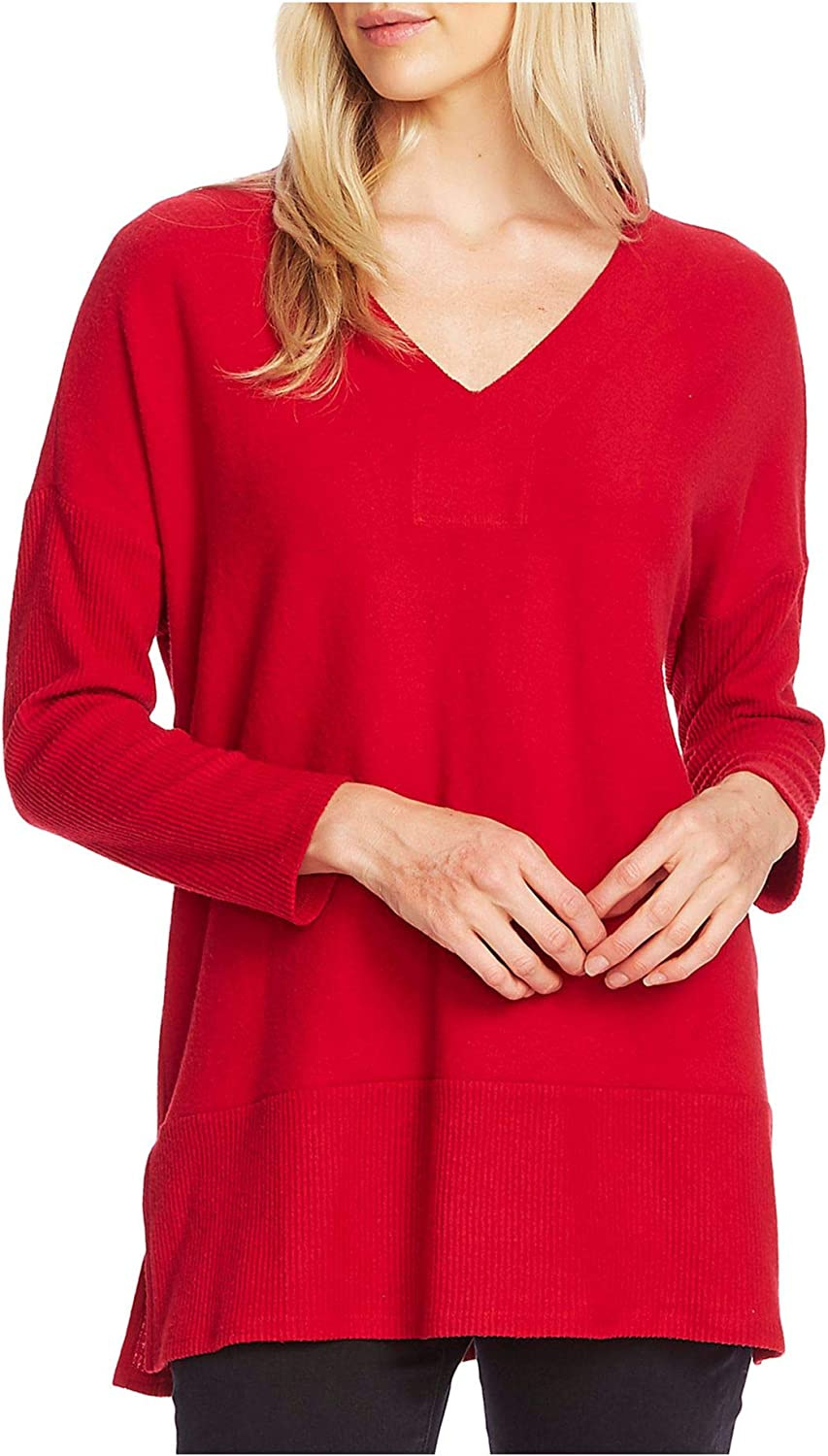 VINCE CAMUTO Womens Red Long Sleeve V Neck Tunic Top Size XXS