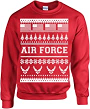 All Things Apparel US Air Force Ugly Sweater Design Christmas Crew Sweatshirt
