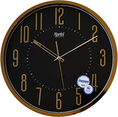 Ajanta Wall Clock for Home and Offices (30 cm x 30 cm, Silent Movement, Black)