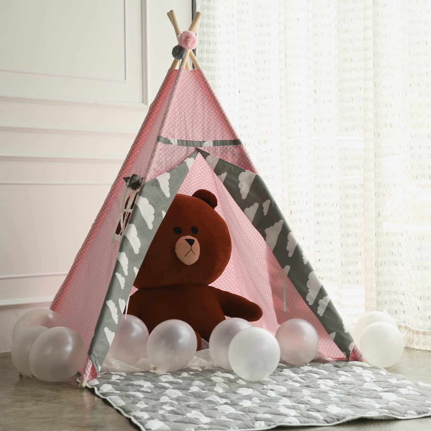 Princess Teepee Fairy Tent  5' Large Handcraft Pink Cotton Canvas Play Tent Kids Playhouse by Wonder Space, Comes with Free Hang Decorations, Best Gift Indoor & Outdoor Present for Girls