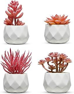 Set of 4 Desk Plants - Office Decor for Women Desk, Indoor, Living Room, Bedroom, Home and Desk Decor – Pink Faux Succulen...