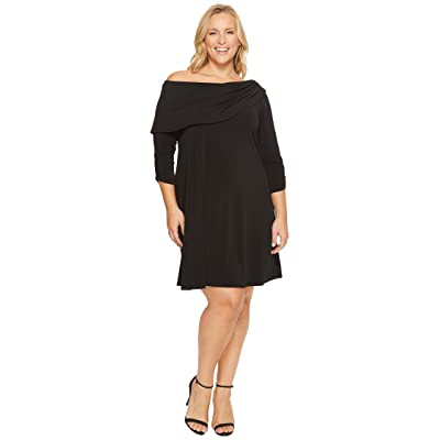 Karen Kane Plus Plus Size Drape Boat Neck Dress (Black) Women