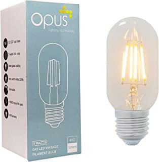 Vintage Filament Tubular Opus Classic 5W LED Dimmable Clear T45 Light Bulb Very Warm White ES E27 Edison Screw