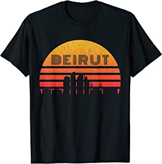 Vintage Retro Sunset Beirut Lebanon Skyline T-Shirt