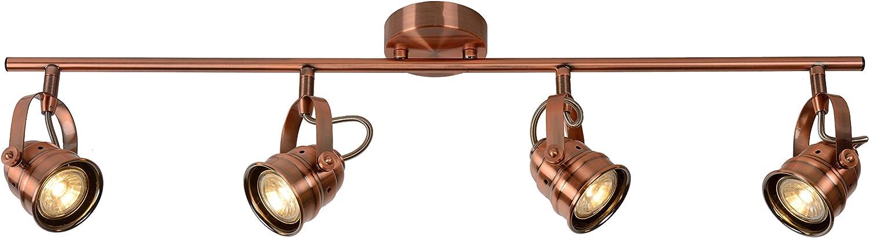 Lucide Cigal-Deckenstrahler-Durchmesser 9 cm-LED-GU10-4x, 2700 K, Metall, GU10, 5 W, Copper, 74,5 x 74,5 x 18 cm
